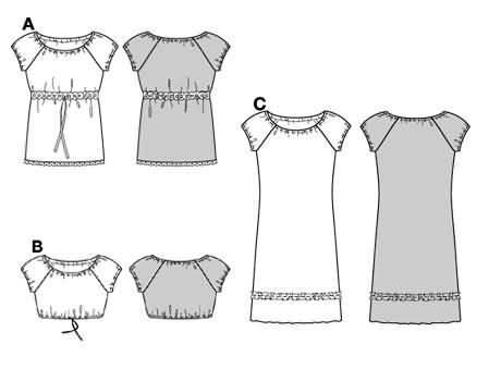 Burda 8517 Blouse and dress