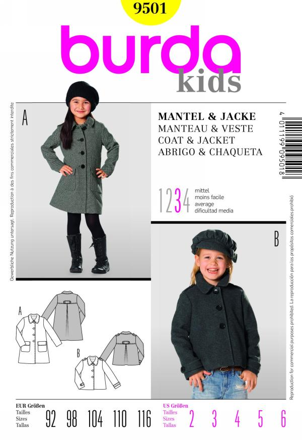 Burda 9501 children\'s coat and jacket