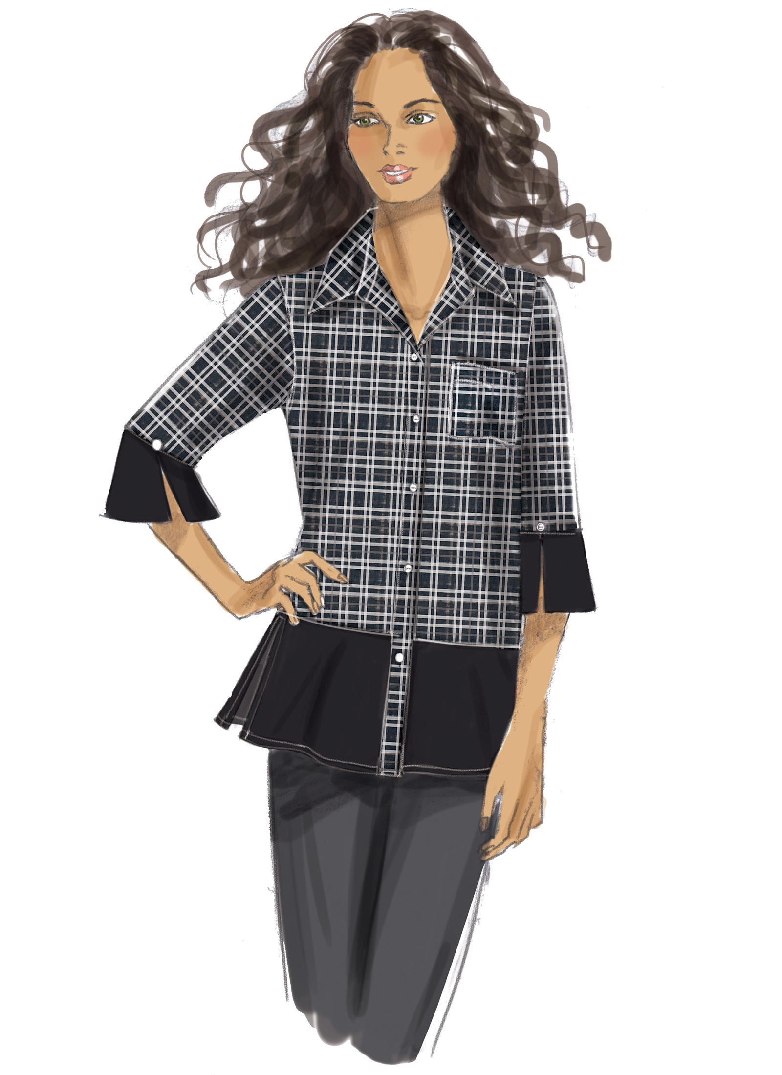 4f73ca1b Butterick 6376 Misses' Button-Down Shirts with Side Slits