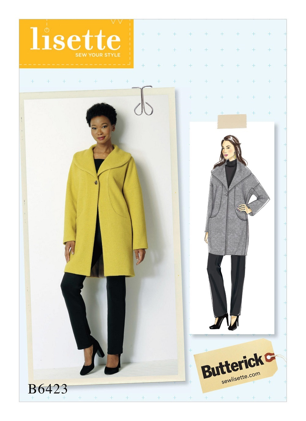 Butterick 6423 misses drop shoulder shawl collar coat with in prevnext jeuxipadfo Gallery