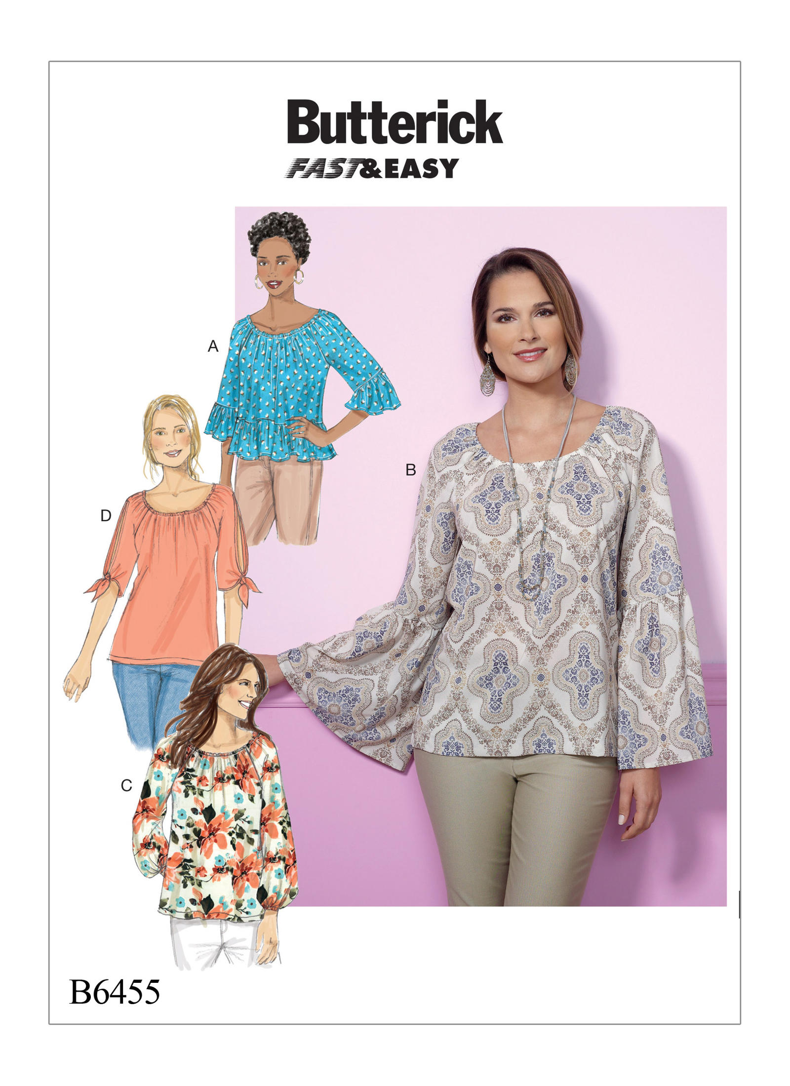 Butterick Sewing Pattern 6455 Misses/' Gathered Raglan Sleeve Top