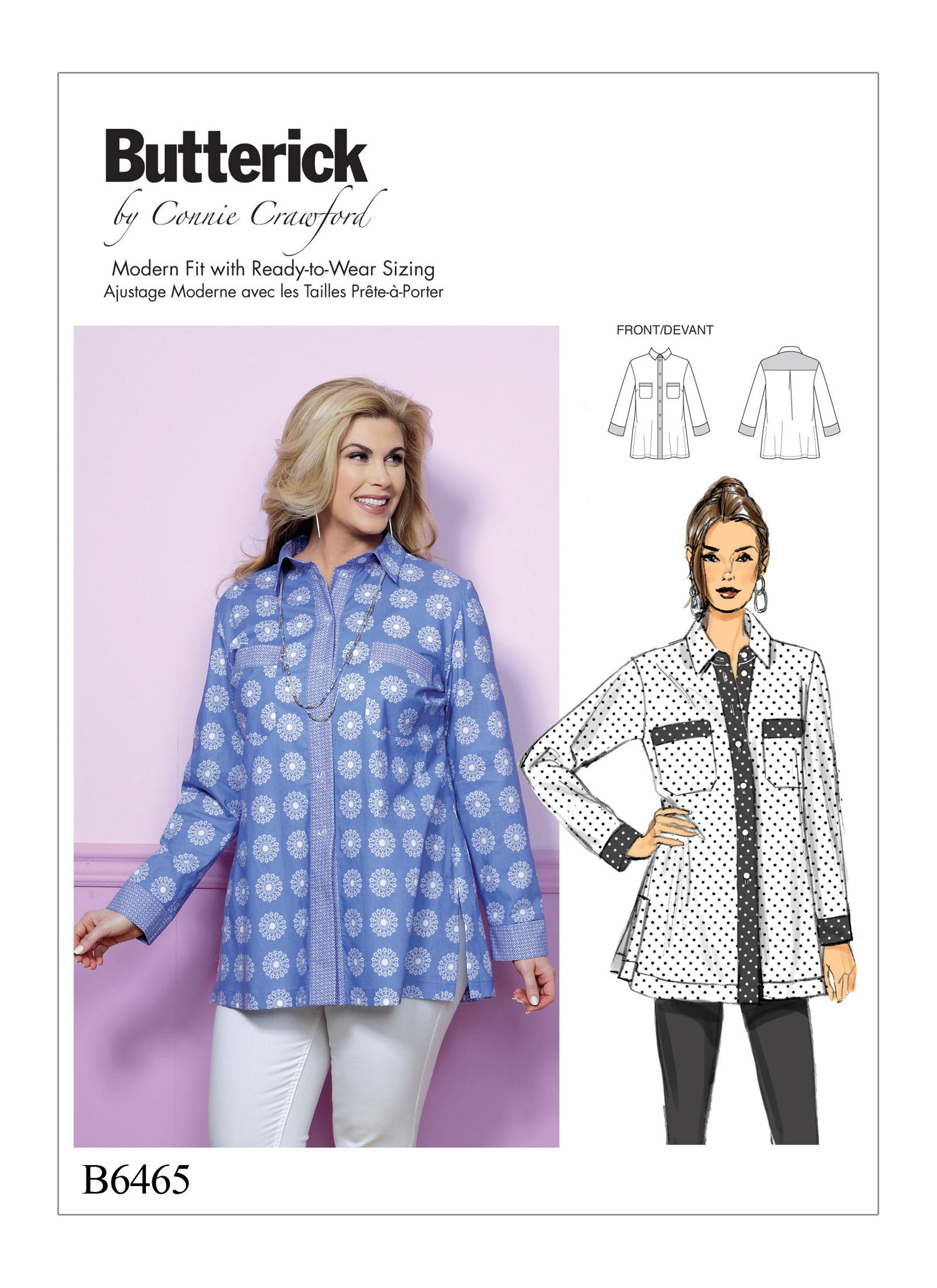 Butterick 6465 Misses'/Women's Button-Down Shirt with Side ...