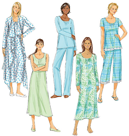 Butterick 5571 Misses Robe Belt Top Gown And Pants