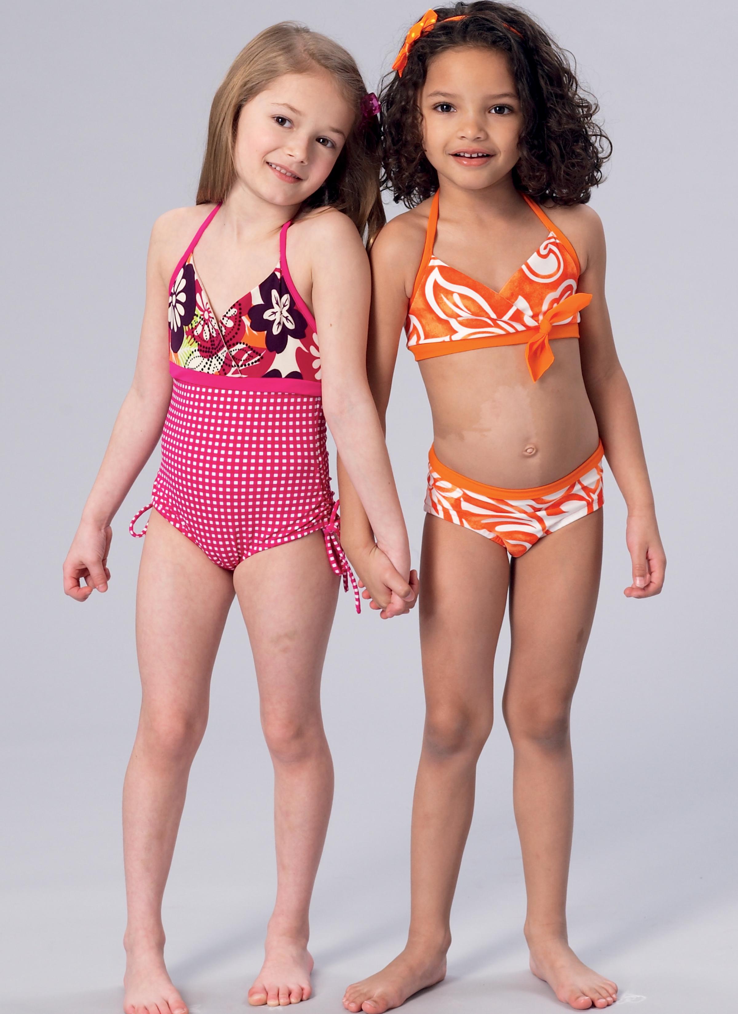 Free Barn Plans Kwik Sew 4168 Girls Halter Bikini And One Piece Swimsuit