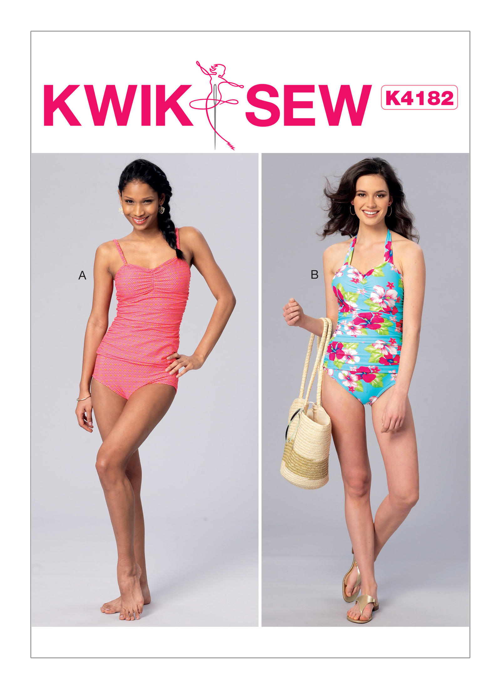 Kwik Sew 4182 Misses\' Ruched Tankini and One-Piece Halter Swimsuit