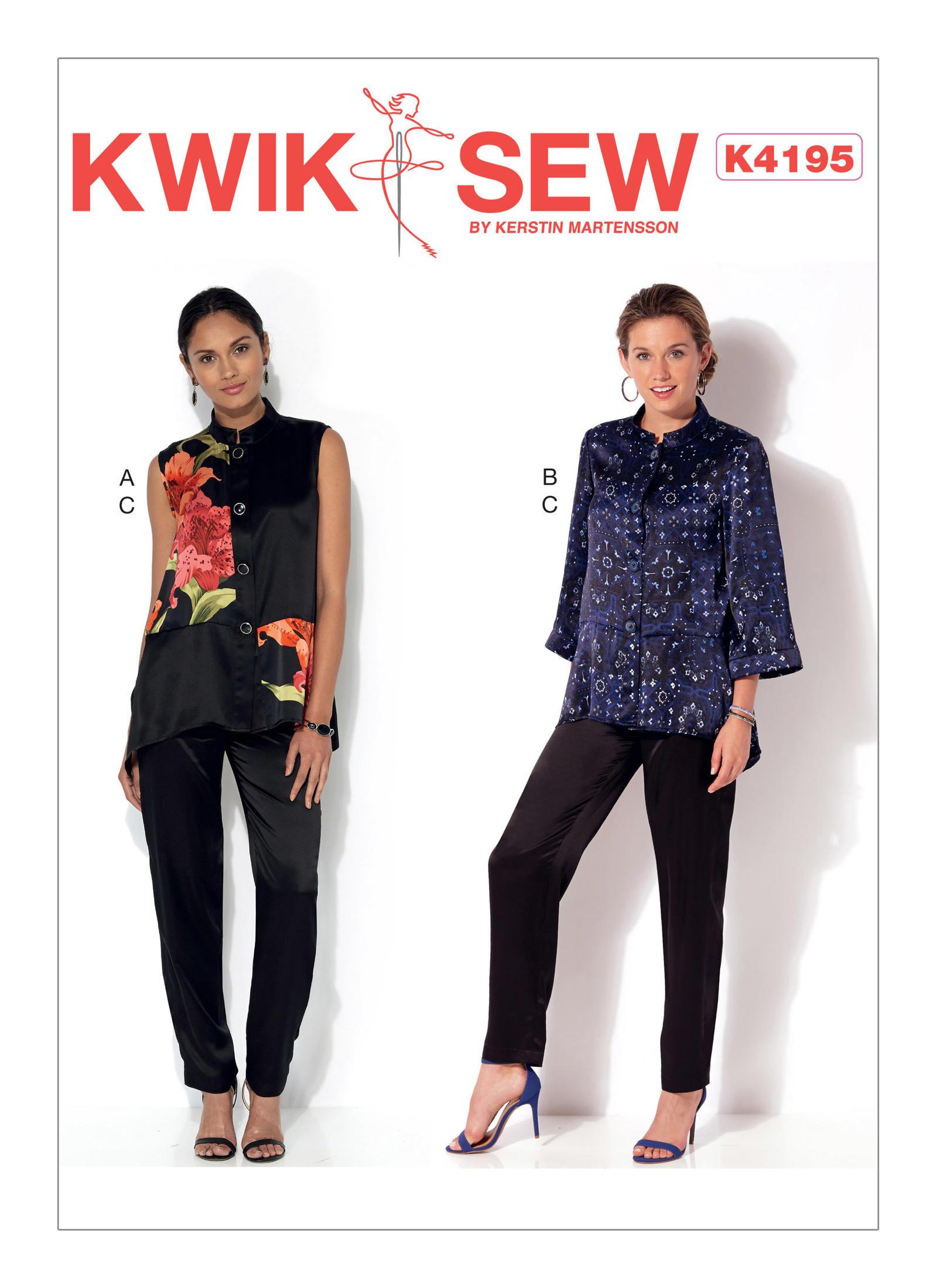 Kwik sew 4195 misses mandarin collar vest and jacket and pull on prevnext jeuxipadfo Choice Image