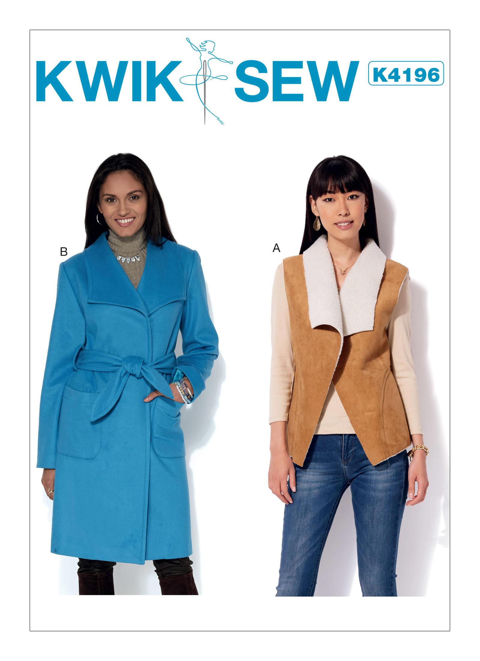 Kwik sew 4196 misses shawl collar vest and coat with belt prevnext jeuxipadfo Choice Image