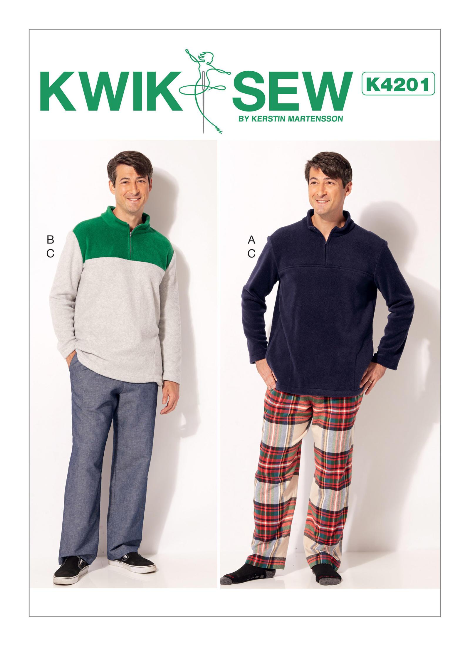 Kwik Sew 4201 Men\'s Quarter-Zip Jackets and Elastic-Waist Pants