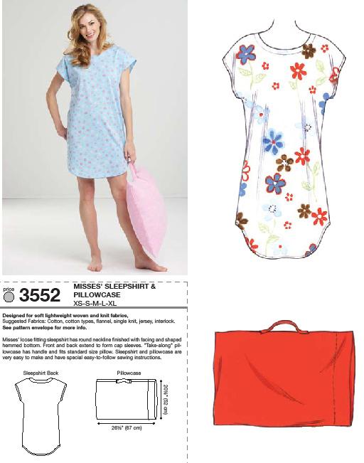 Kwik Sew 3552 Sleep Shirt and Pillowcase