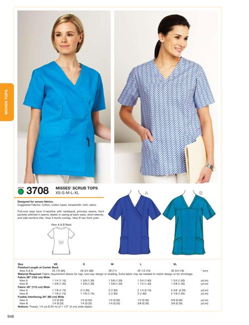 Kwik Sew 40 Misses Scrub Tops New Scrub Top Patterns