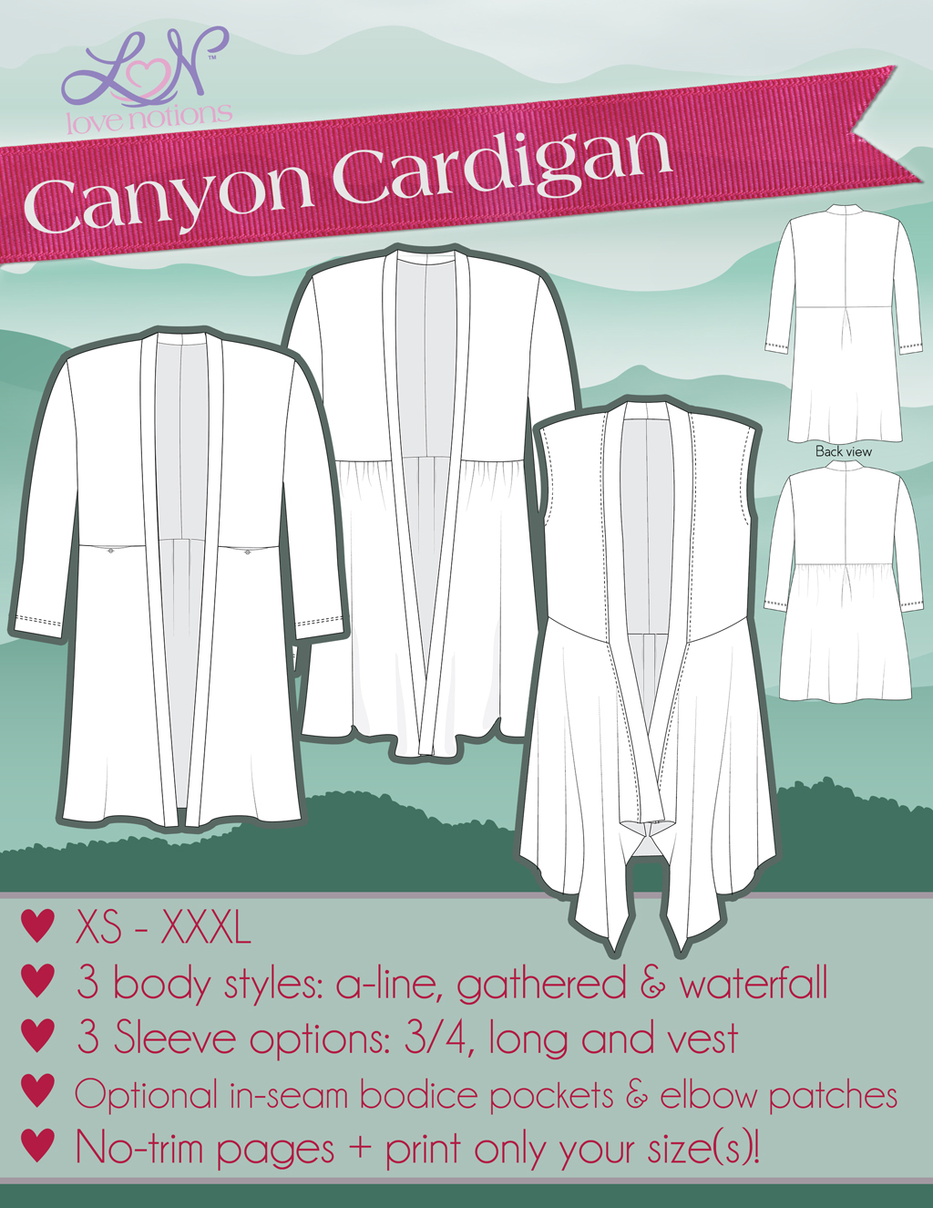 Love Notions Canyon Cardigan Downloadable Pattern