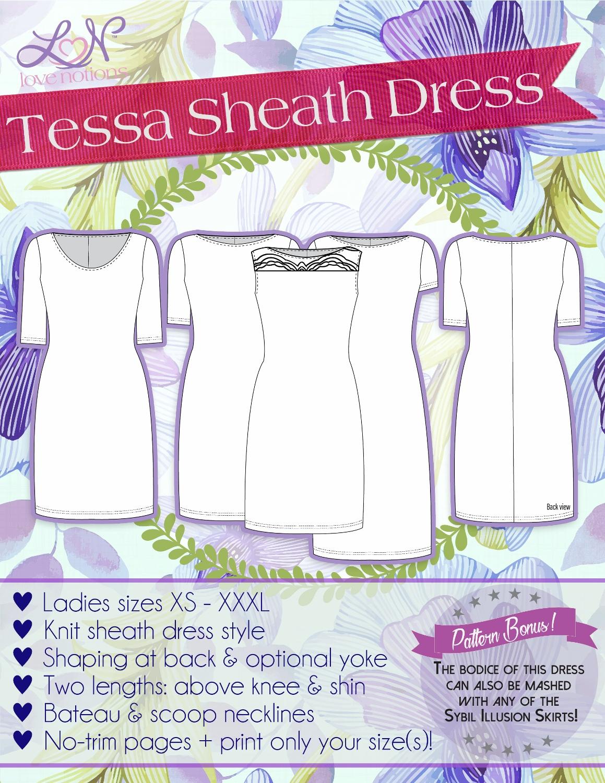 d1ed5d82 Love Notions Tessa Sheath Dress Downloadable Pattern