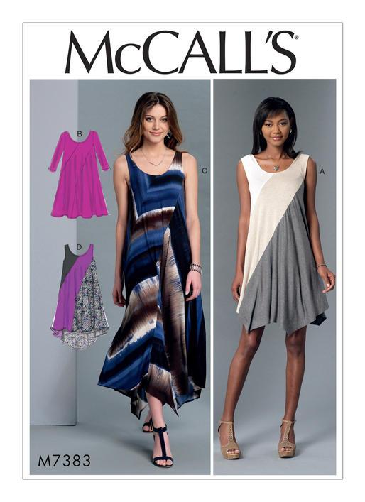 Mccalls 7383 Misses Diagonal Seam Knit Dresses
