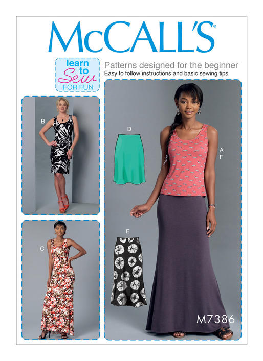 Mccalls 7386 Misses Knit Tank Top Dresses And Skirts