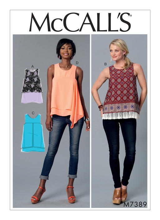 McCall\'s 7389 Misses\' Sleeveless Tops with Overlays