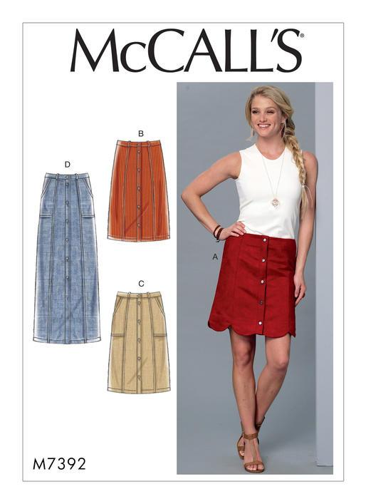 McCall\'s 7392 Misses\' Straight or Scalloped-Hem, Gored Skirts