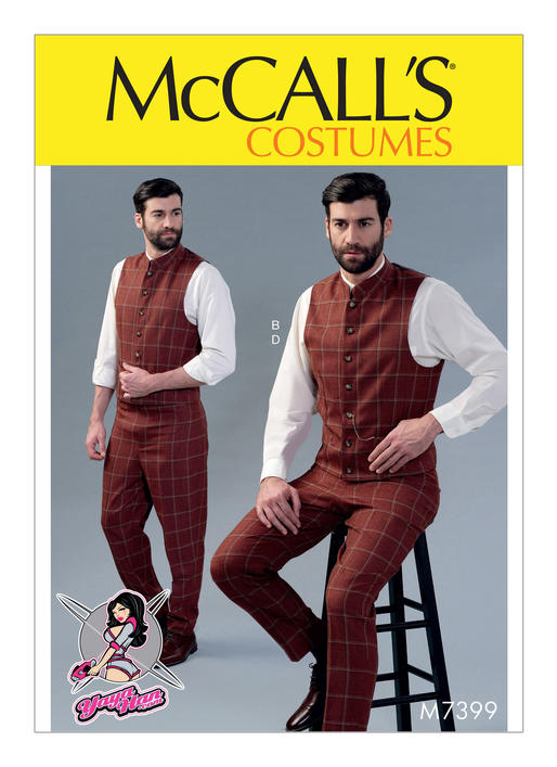 McCall\'s 7399 Single or Double-Breasted Vests and Flat-Front Pants