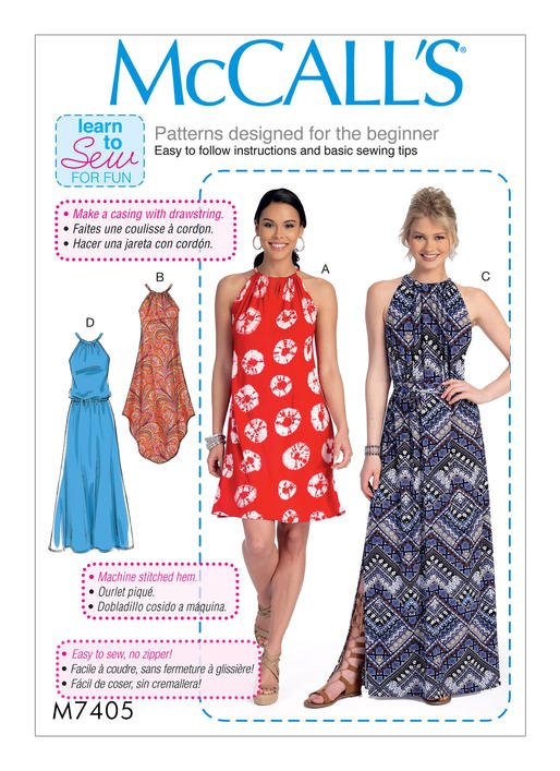 mccall s 7405 misses gathered neckline dresses with ties