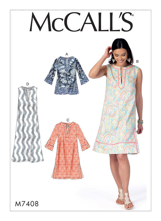 McCall's 7408 Misses' Notched Tunic and Dresses