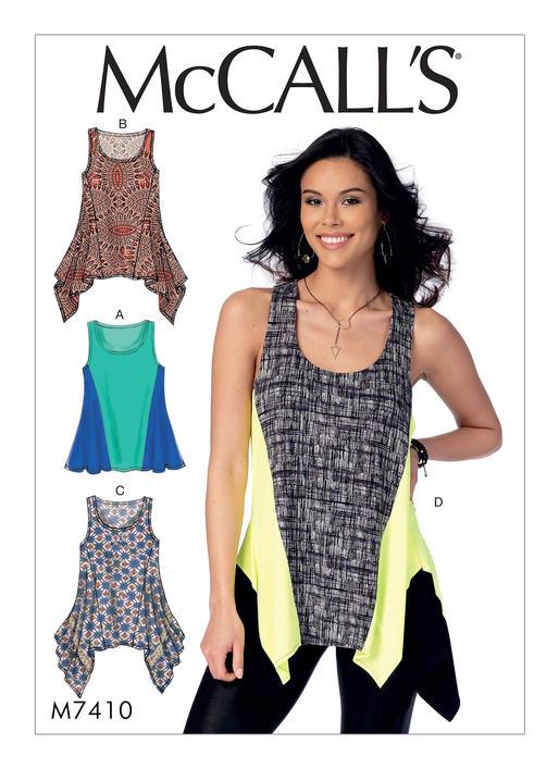 Mccalls 7410 Misses Knit Diagonal Seam Tank Tops