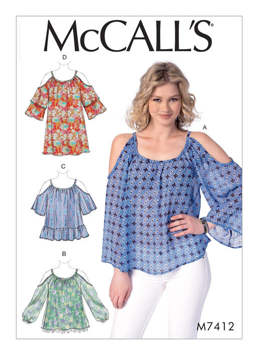 Mccalls 7412 Misses Gathered Cold Shoulder Tops And Tunic