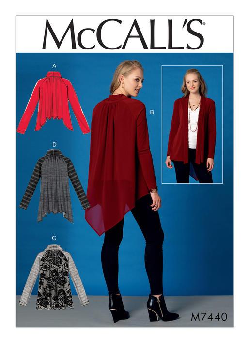 Mccalls 7440 Misses Raglan Sleeve Jackets With Shawl Collar