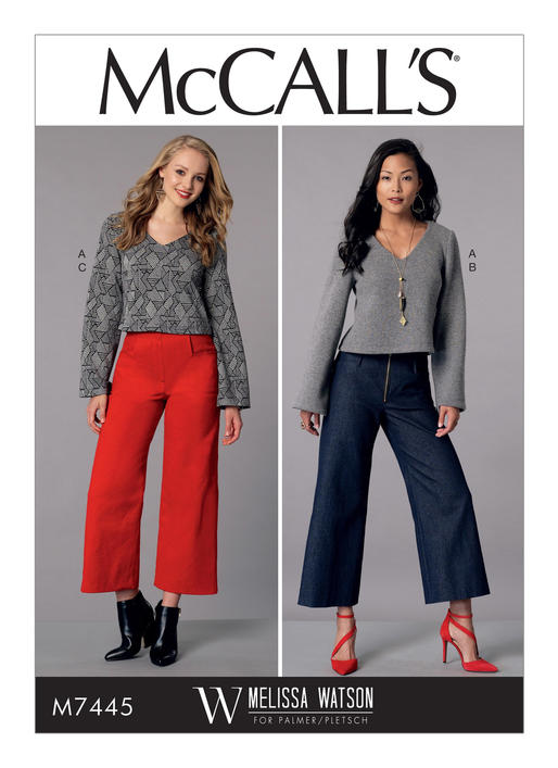 Mccalls 7445 Misses V Neck Top And Cropped Wide Leg Pant