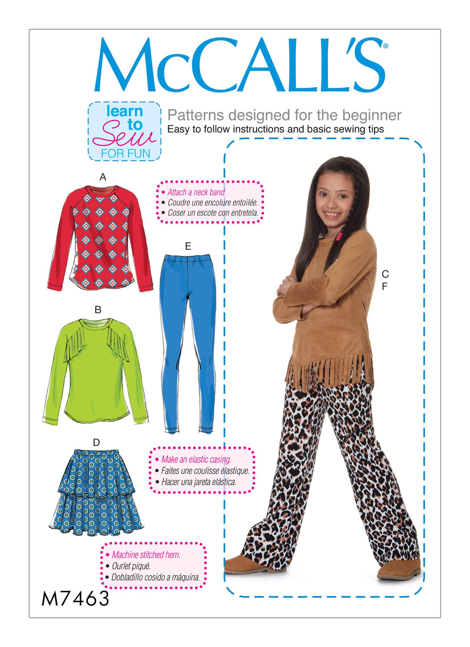 Mccalls 7463 girlsgirls plus raglan sleeve tops tiered skirt prevnext jeuxipadfo Images