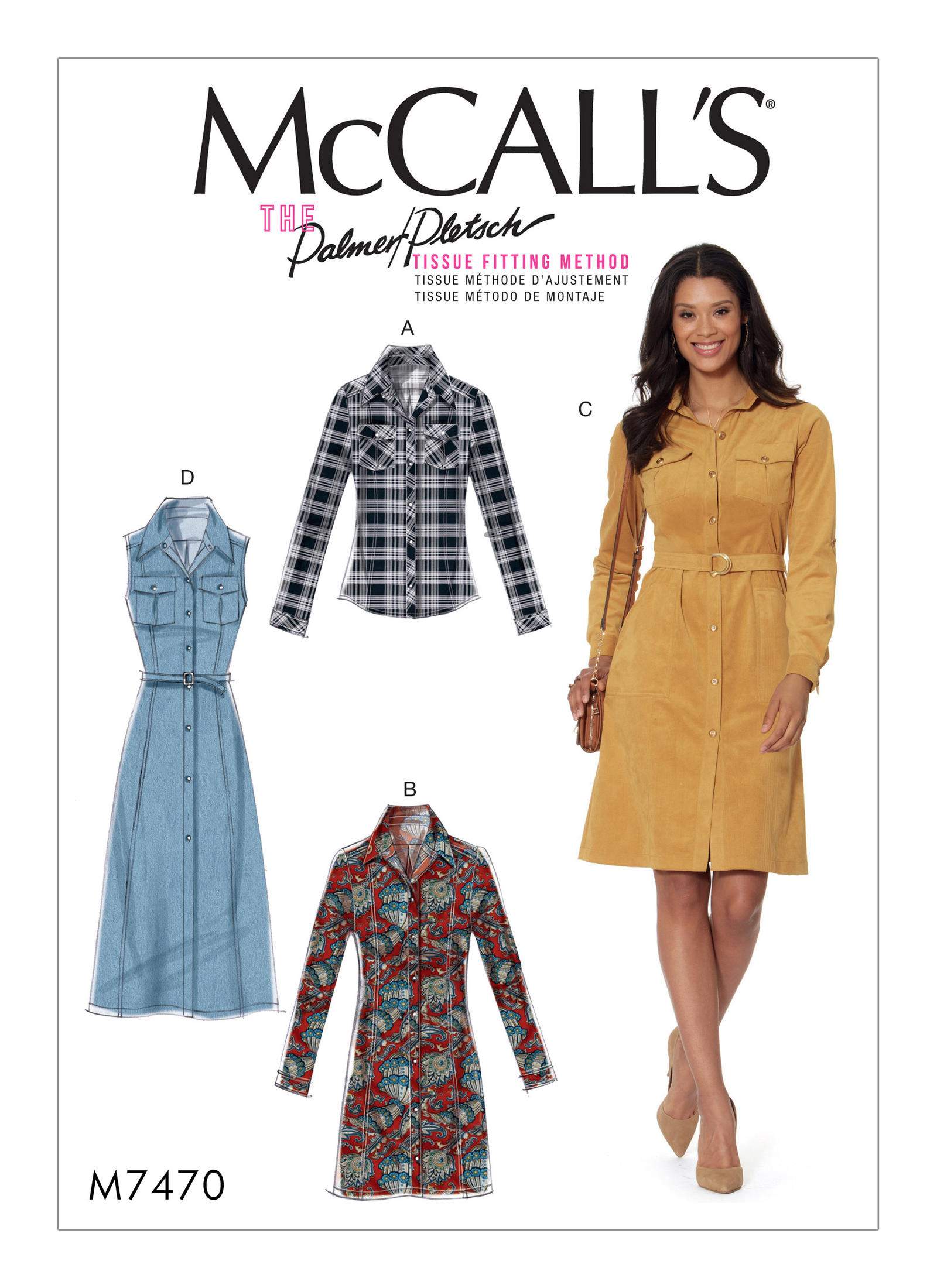 McCall's 7470 Misses' Button-Down Shirt and Shirtdresses with Belt