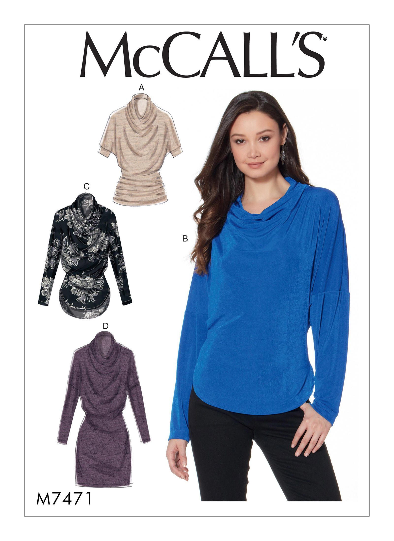 McCall's 7471 Misses' Knit Cowl-Neck Tops and Tunic
