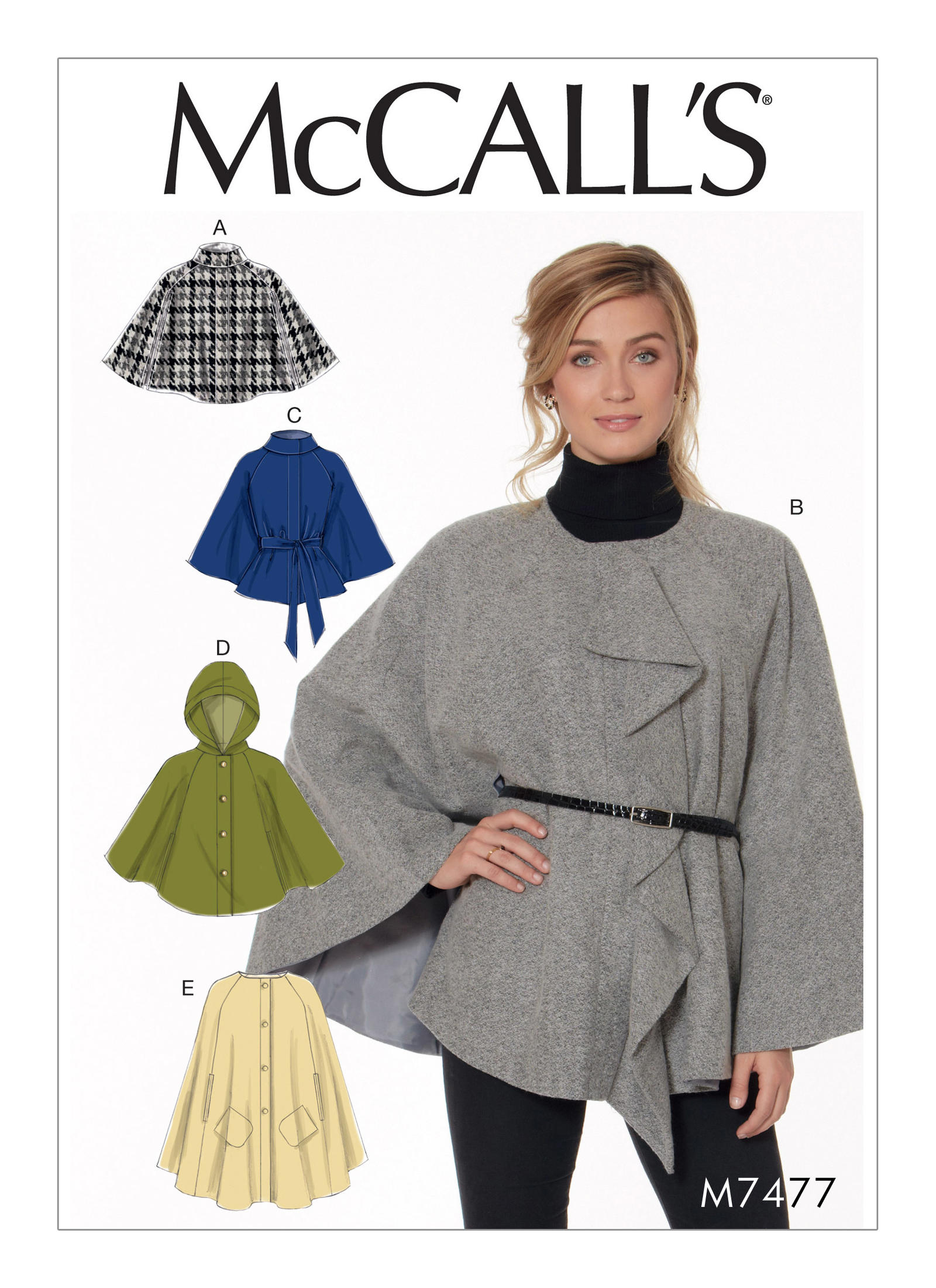 Mccalls 7477 misses hooded collared or collarless capes prevnext jeuxipadfo Images