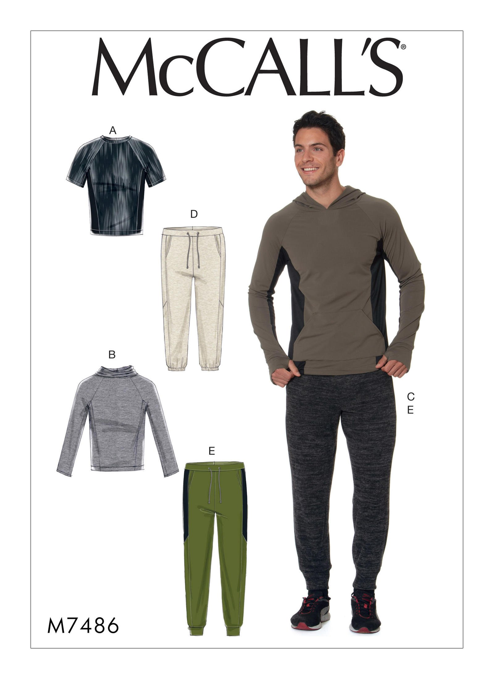 McCall\'s 7486 Men\'s Raglan Sleeve Tops and Drawstring Pants