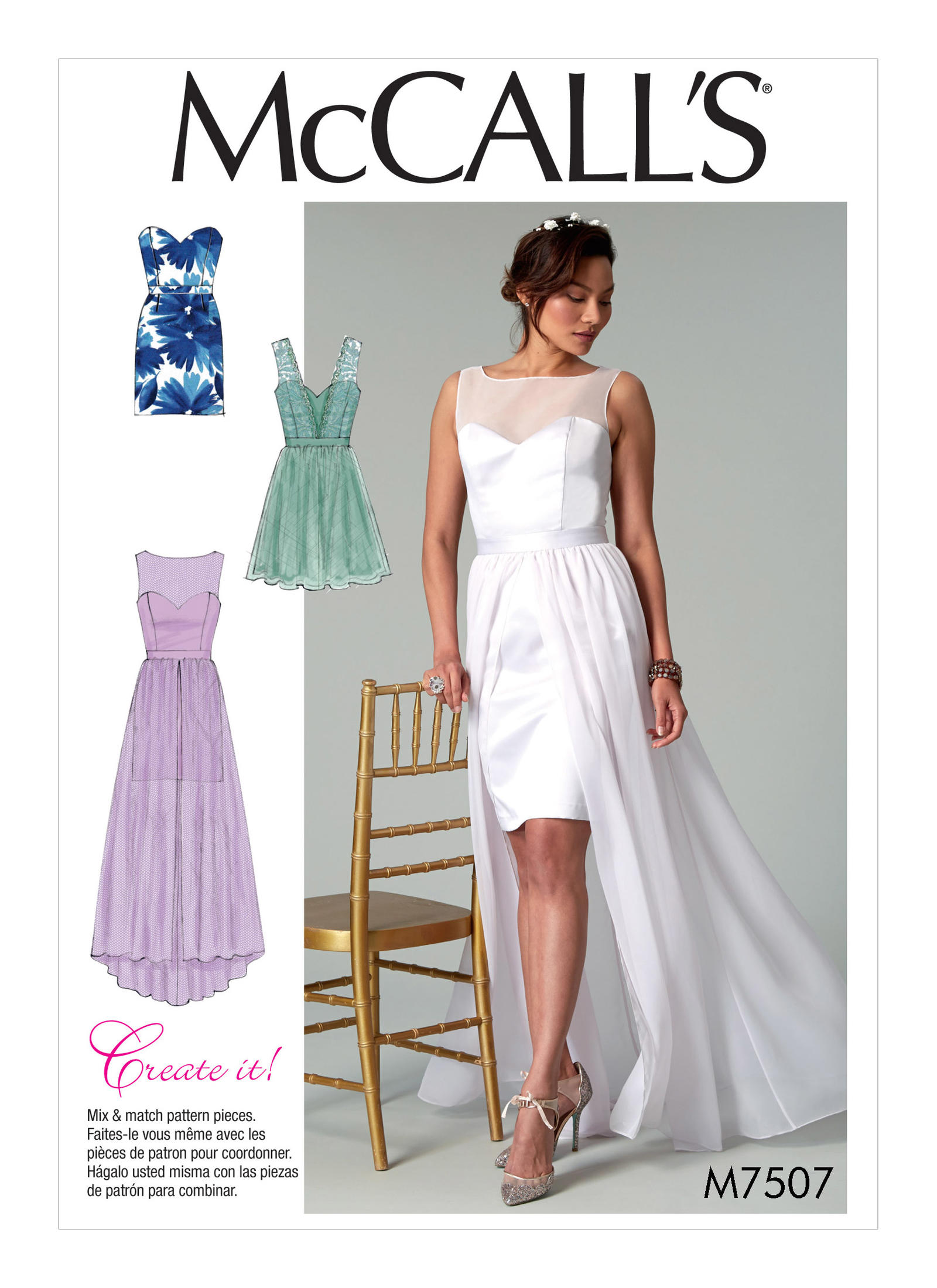Mccall 39 s 7507 misses 39 mix and match sweetheart dresses for Mccall wedding dress patterns