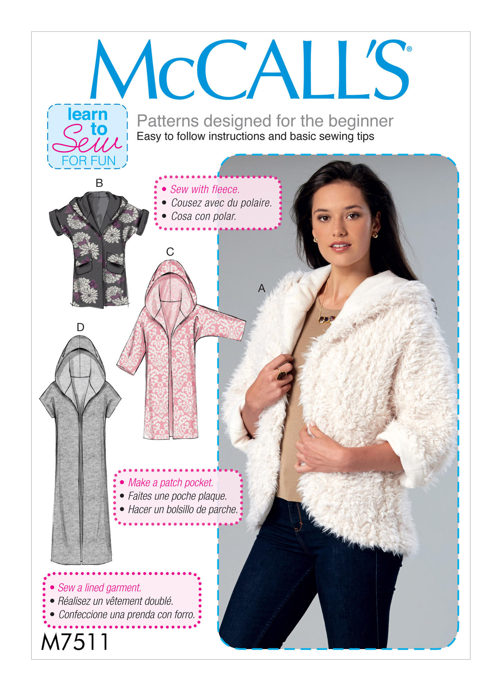 Mccalls 7511 misses open front jackets with shawl collar and hood prevnext jeuxipadfo Image collections