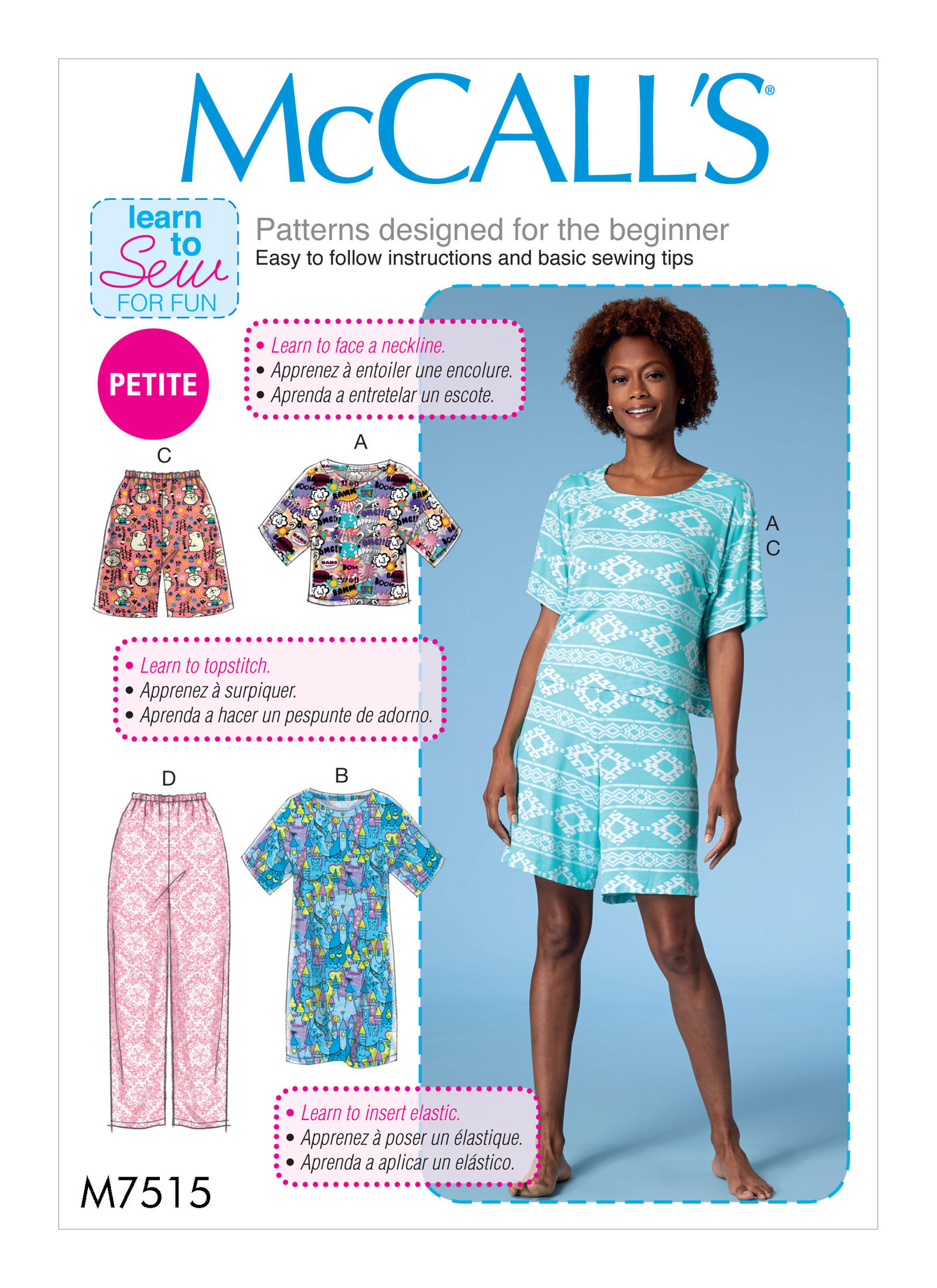 McCall's 7515 Misses'/Miss Petite Short Sleeve Top and Dress, and Pull-On  Shorts and Pants