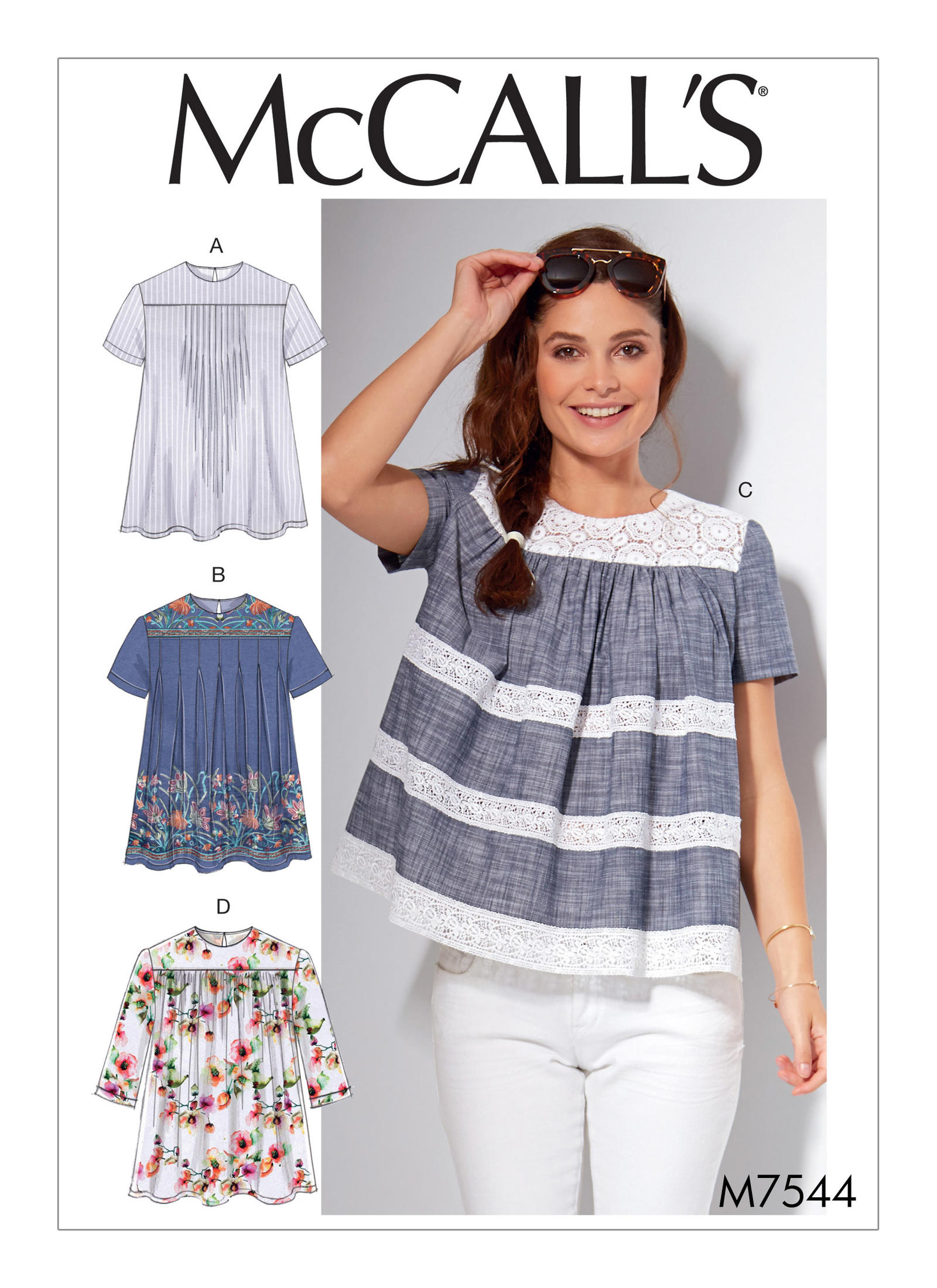 Mccall 39 S 7544 Misses 39 Pleated Or Gathered Tops With Yokes