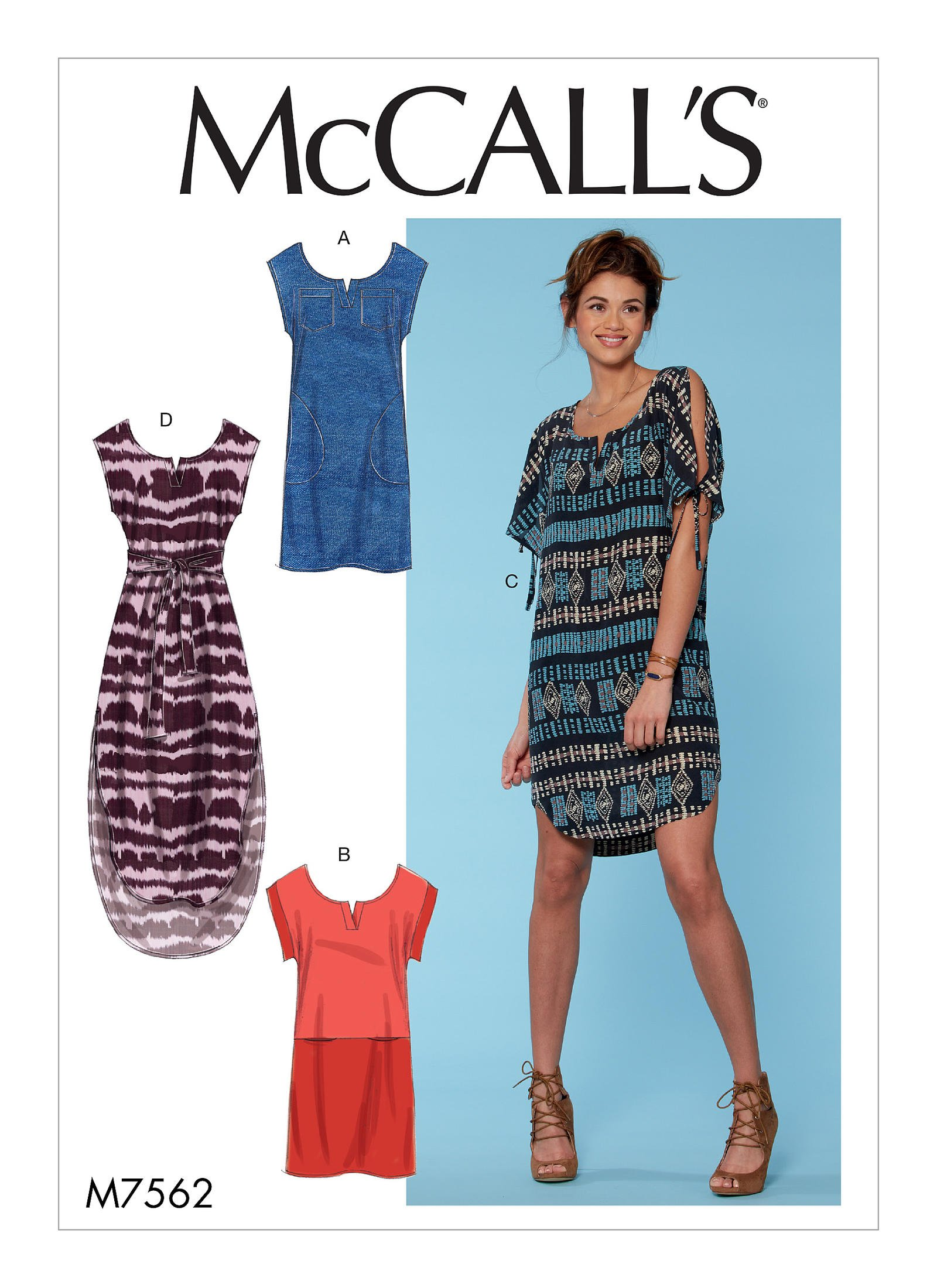 Mccall S 7562 Misses Pullover Dresses With Sleeve Ties