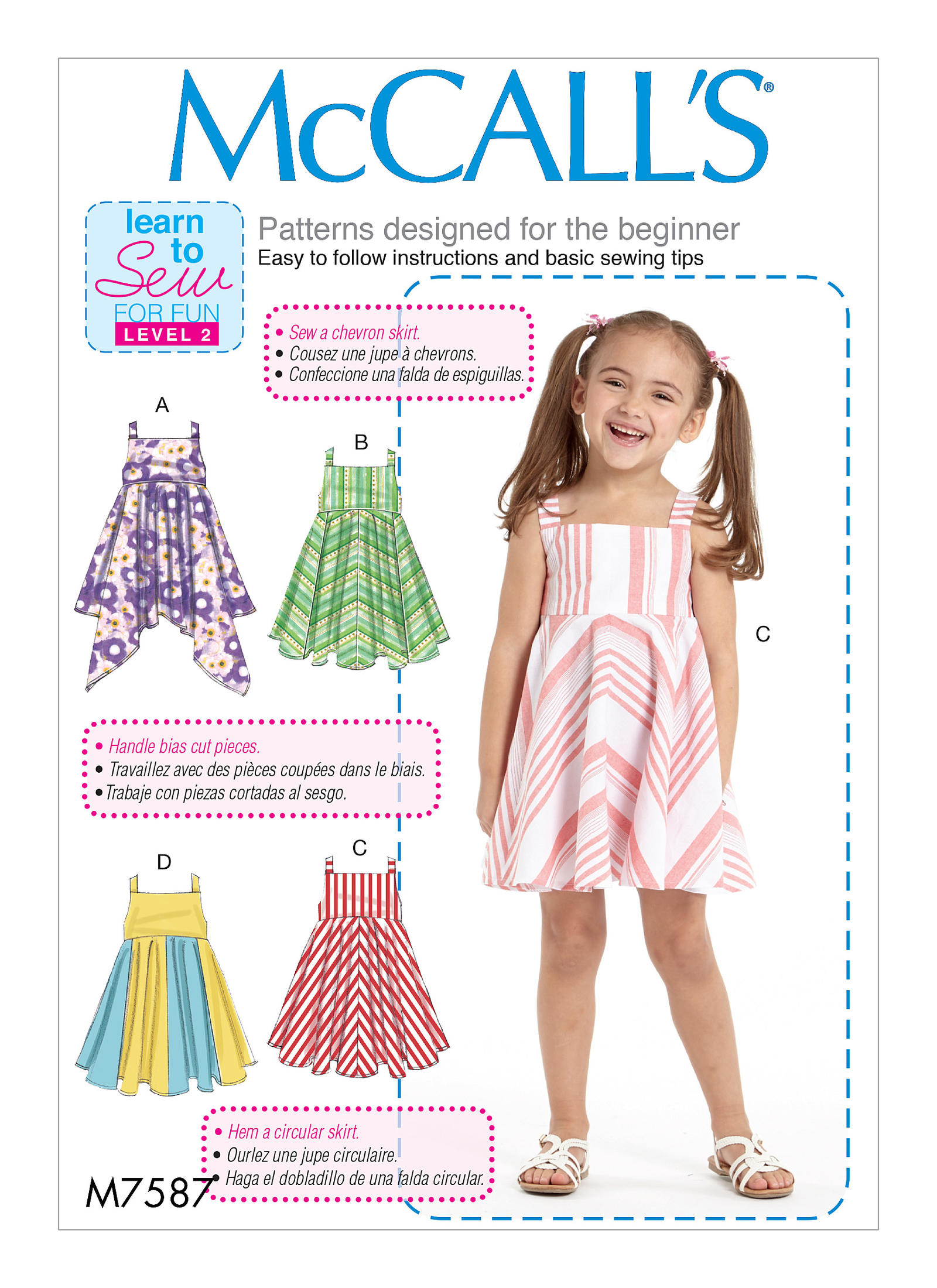 McCall\'s 7587 Children\'s/Girls\' Dresses with Square Neck, and ...