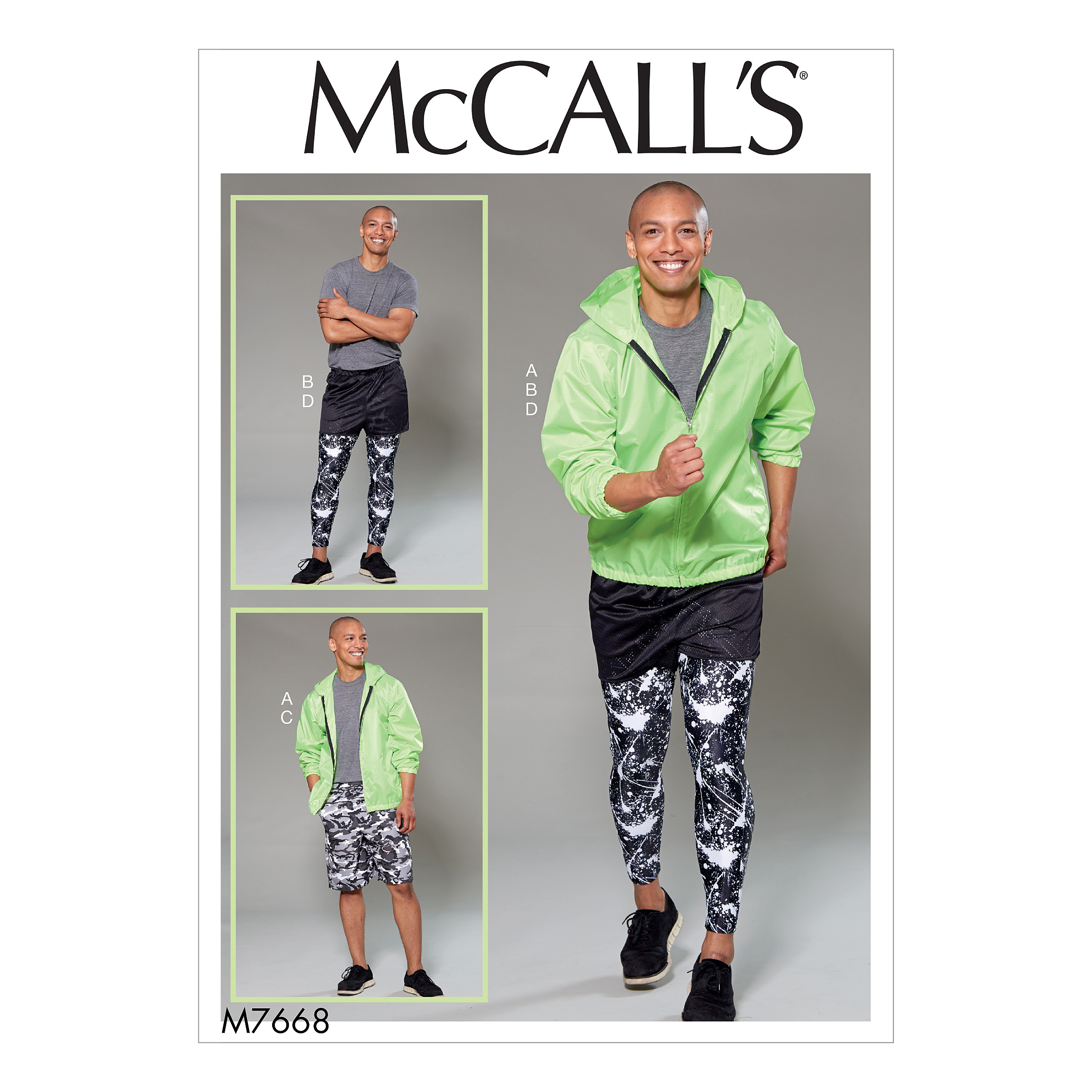 Mccalls 7668 mens hooded jacket shorts and leggings prevnext jeuxipadfo Image collections