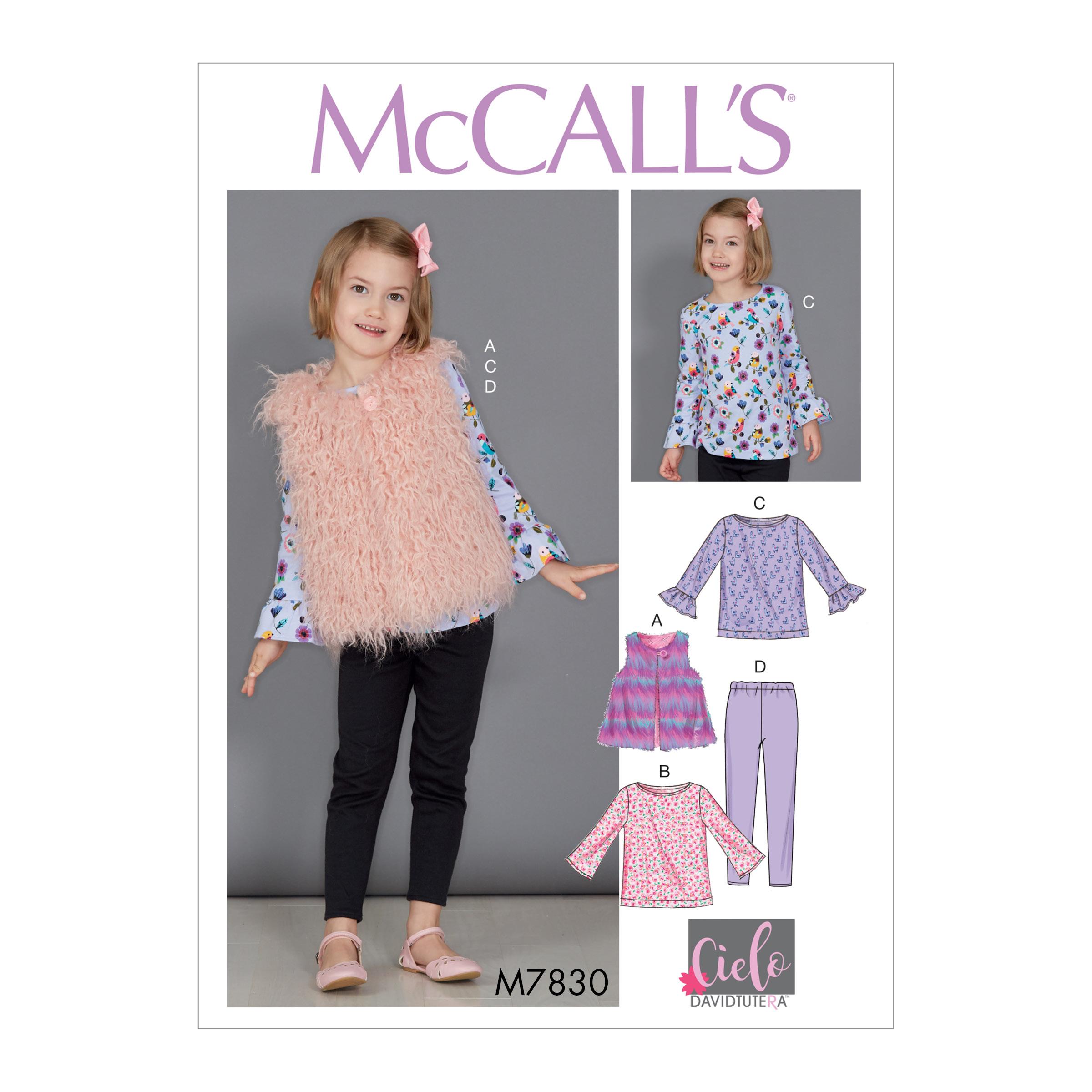 8ec617e5882 McCall's 7830 Children's/Girls' Tunic Tops, Vest and Leggings