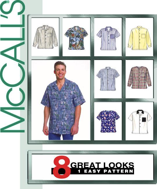 Size L-XL McCalls Patterns M2149 Mens Shirts