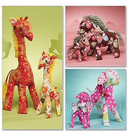 Mccalls 6136 Retro Lamb Horse And Giraffe In 2 Sizes