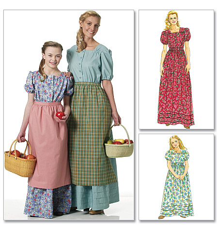 McCall's 40 Misses'Girls' Colonial Costumes Simple Colonial Dress Patterns