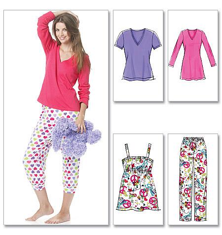 Mccalls 6250 Misseswomens Tops Nightshirt And Pants