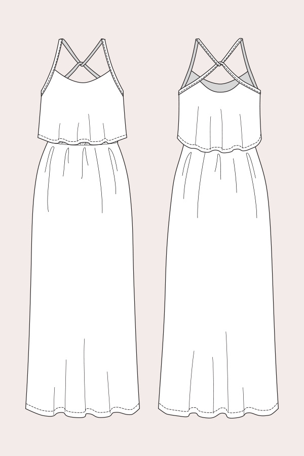 Named Clothing 06 062 Delphi Layered Maxi Dress Downloadable Pattern