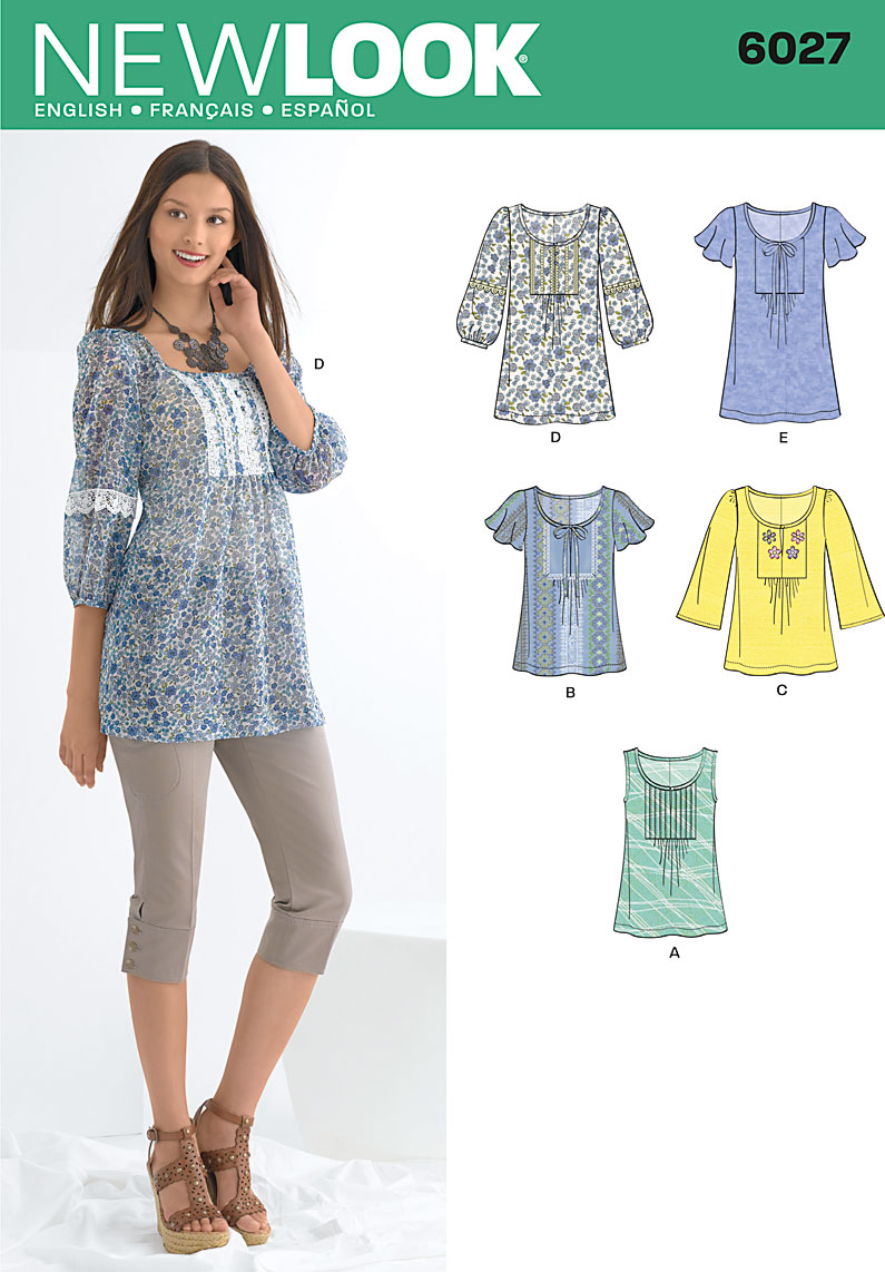 New Look 6027 Misses\' Tunic or Tops