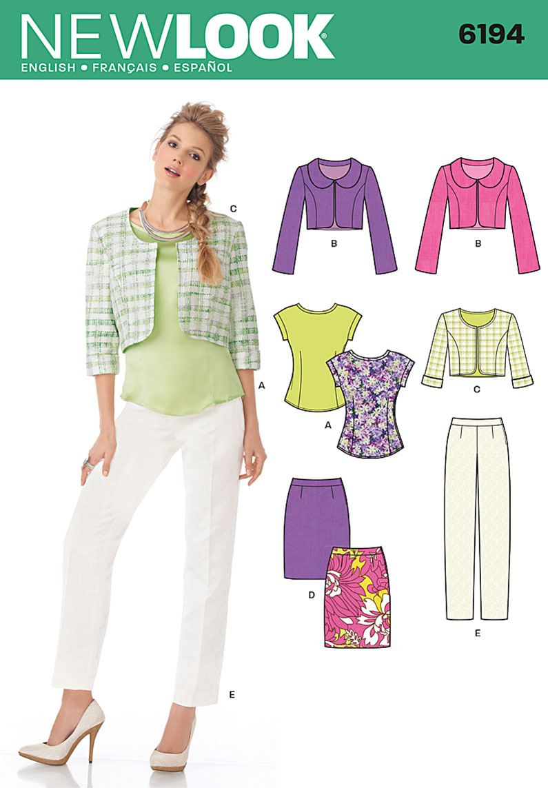 New Look 6194 Misses Cropped Jacket Tops Skirt And Pants