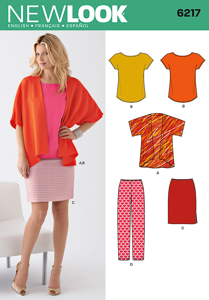 New Look 6217 Misses Jacket Tee Skirt And Pants