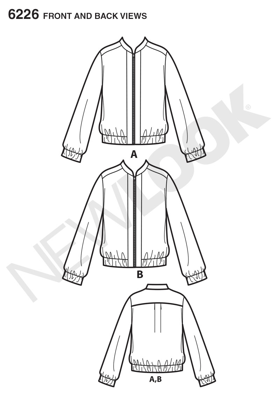 New Look 6226 Misses\' Baseball Jacket