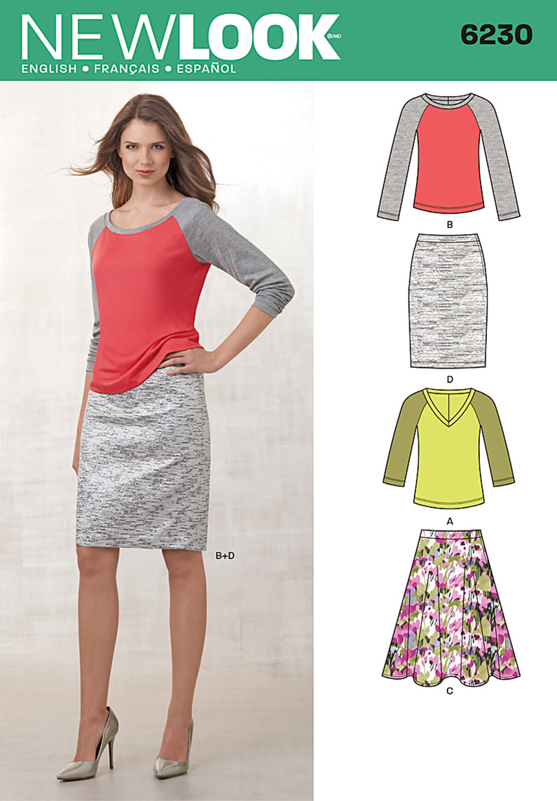New look 6230 misses knit top and full or pencil skirt prevnext jeuxipadfo Image collections